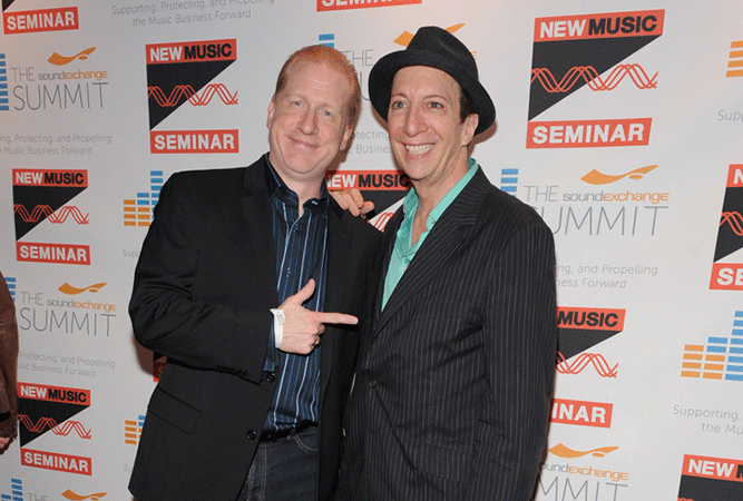 Mike Huppe, SoundExchange, Tom Silverman, New Music Seminar, Tommy Boy Records, Red Carpet Opening Night NMS 2014 Party, Step and Repeat